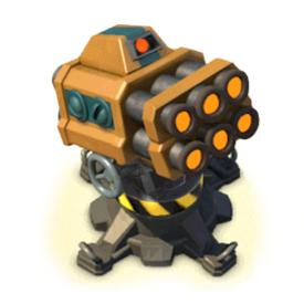 The Rocket Launcher is a long distance artillery piece. It fires a