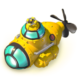 The Submarine can discover underwater treasures. Look for dive locations on the map, and send the submarine on missions. Upgrade the Submarine for deeper dives that yield greater rewards.